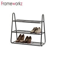 2019 Home 3 Tiers Free Standing Metal Shoe Rack with Handles