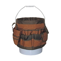 Hot Sale Heavy Duty Outdoor 12 in. 56-Pocket Bucket Tool Organizer Garden Tool Bag Brown and Green