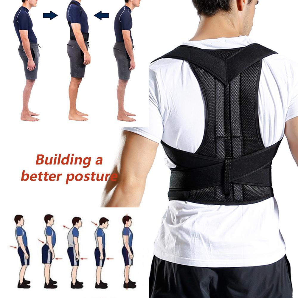 Adjustable Adult Shoulder Lumbar Brace Spine Support Belt Vest Back Posture Corrector for Women and Men, Black