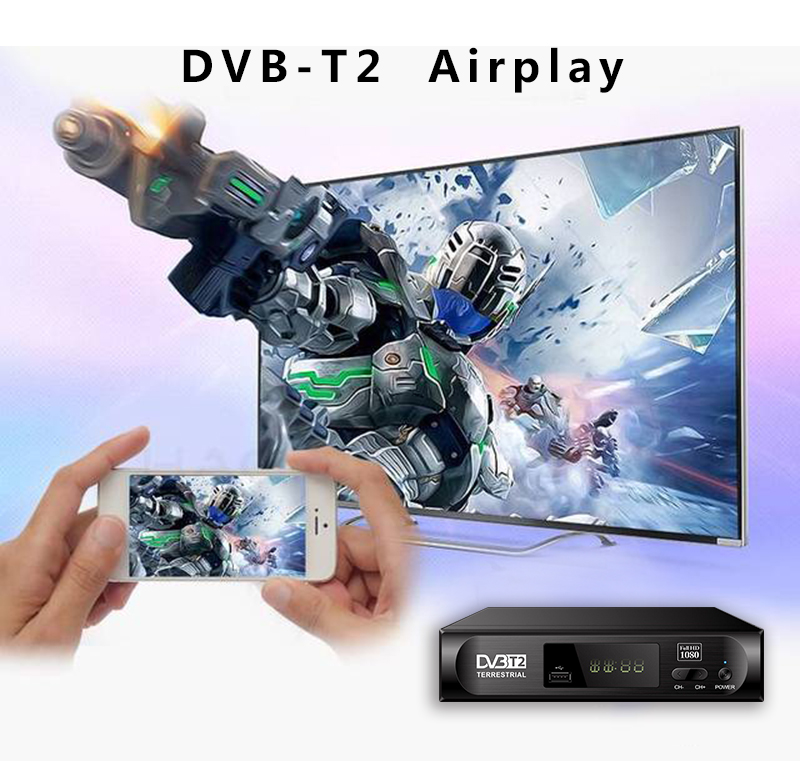 Jual MPEG4 USB Wifi Airplay Tablet DVB-T2 HD H.264 Set Top Box Remote Control Firmware Upgrade DVB-T2