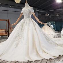 HTL1737 свадебное платье с жемчугом и аппликацией, расшитое кристаллами, с блестками, 2020, милое, с открытыми плечами, с коротким рукавом, vestido de ...(China)