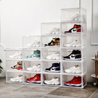 Rectangle DIY Stacking Foldable Tidy Display Shoe Container Transparent Portable Drop Front Organizer Plastic Shoe Box