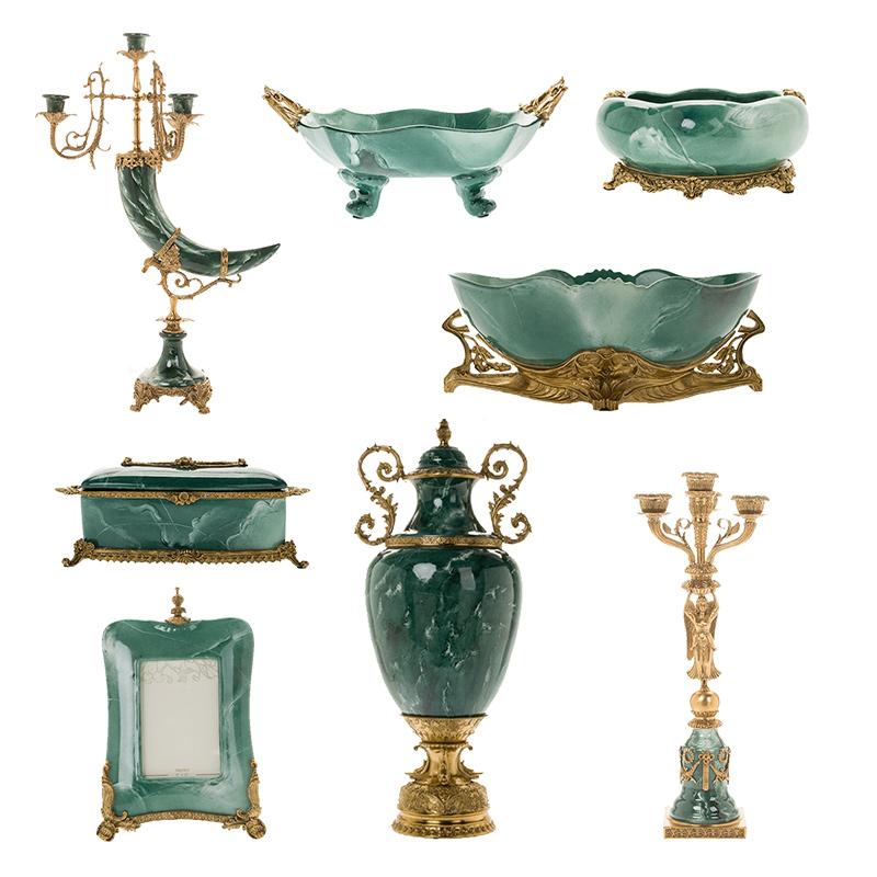 High-end di lusso verde Europea ceramica con rame retro villa decorazione morbido ornamenti e arredamento