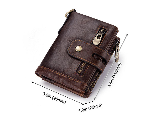 New Products RFID Anti-theft Brush Wallet 3 Fold Multi Card Holder Crazy Horse Leather Coin Purse Genuine Leather Men's Wallet