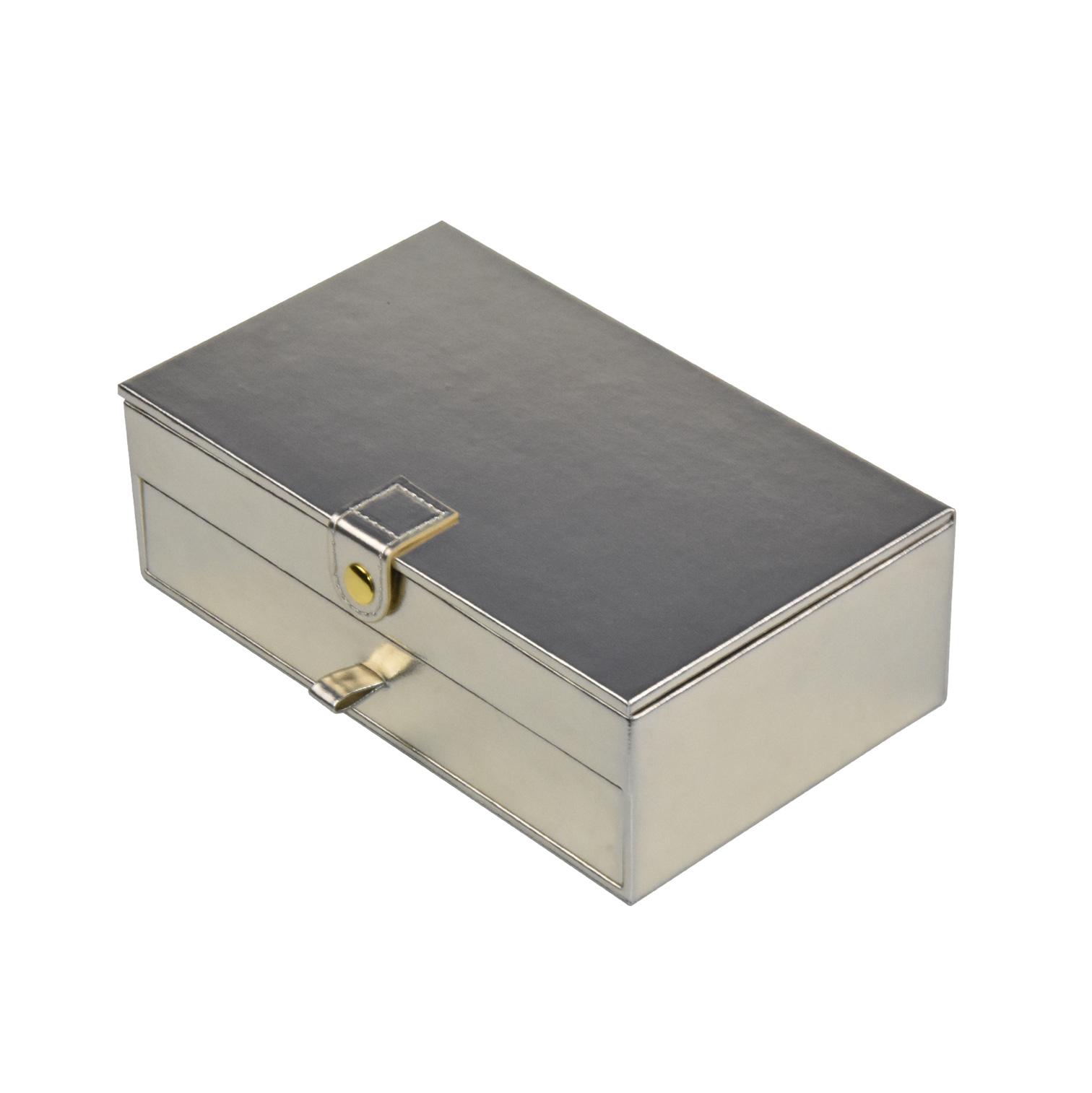 Custom double-layer glossy leather gift box storaging box with drawer