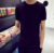 New solid color  Korean version of the round neck summer jacket Slim men's blank bottoming shirt