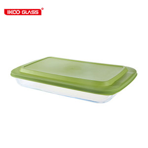 China factory professional bakeware microwave oven glass tray baking dish with lid