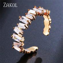 ZAKOL модные AAA багет кубический цирконий T обруч с камнем Серьги для женщин модные круглые свадебные аксессуары FSEP2174(Китай)