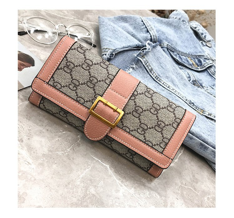 New double zipper wallet double New European and American  Long Wallet printed Pu buckle