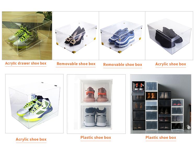 โรงงานที่กำหนดเองพลาสติกใสรองเท้ากล่องวางซ้อนกันได้