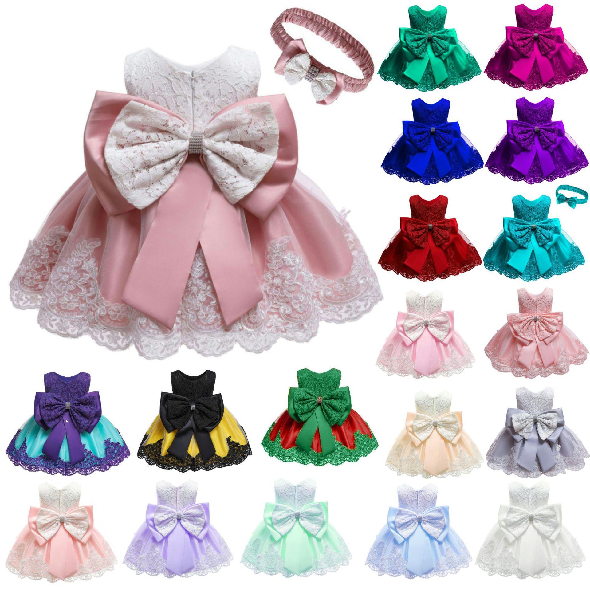 Dress Pesta Bayi Perempuan, Gaun Desain Baru Pakaian Anak-anak Malam Putri Bunga 3 Tahun Renda 2019