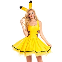 New Fashion Women Halloween Girls Cosplay Pikachu Pokemon Nightclub Queen Short Dress Party Game Costumes Dresses With Headwear