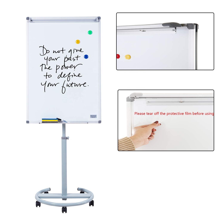 70x100cm aluminium frame flipchart easel height adjustable round based mobile flip chart board