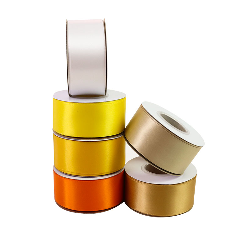 Wholesale custom 196 colors single double face plain 1 1/2 inch polyester silk satin ribbons 38mm