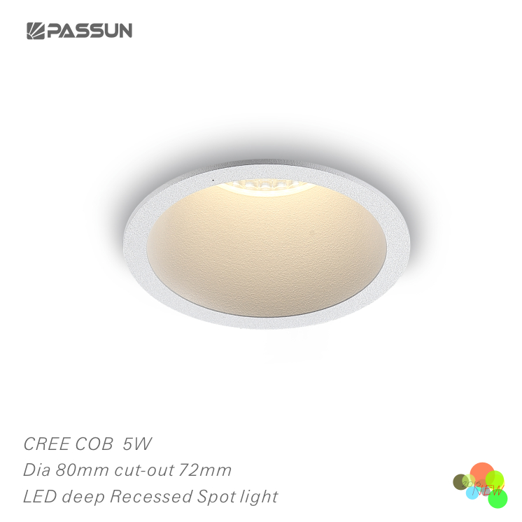 Pure aluminium LED downlights with DC plug COB 5W antiglare recessed spot light for hotel