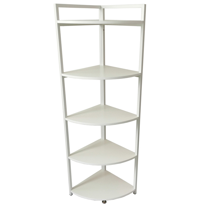Stylish 5 Layers White Metal Corner <strong>Holder</strong> Living Room Storage Rack Bathroom Shelf