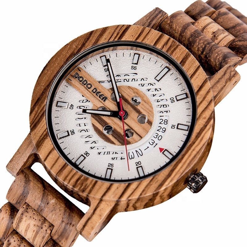 2020 DODO DEER Men's Fashion Natural Wood Watch Oem Creative Design Calendar Luminous Customizable Logo Wholesale Watch