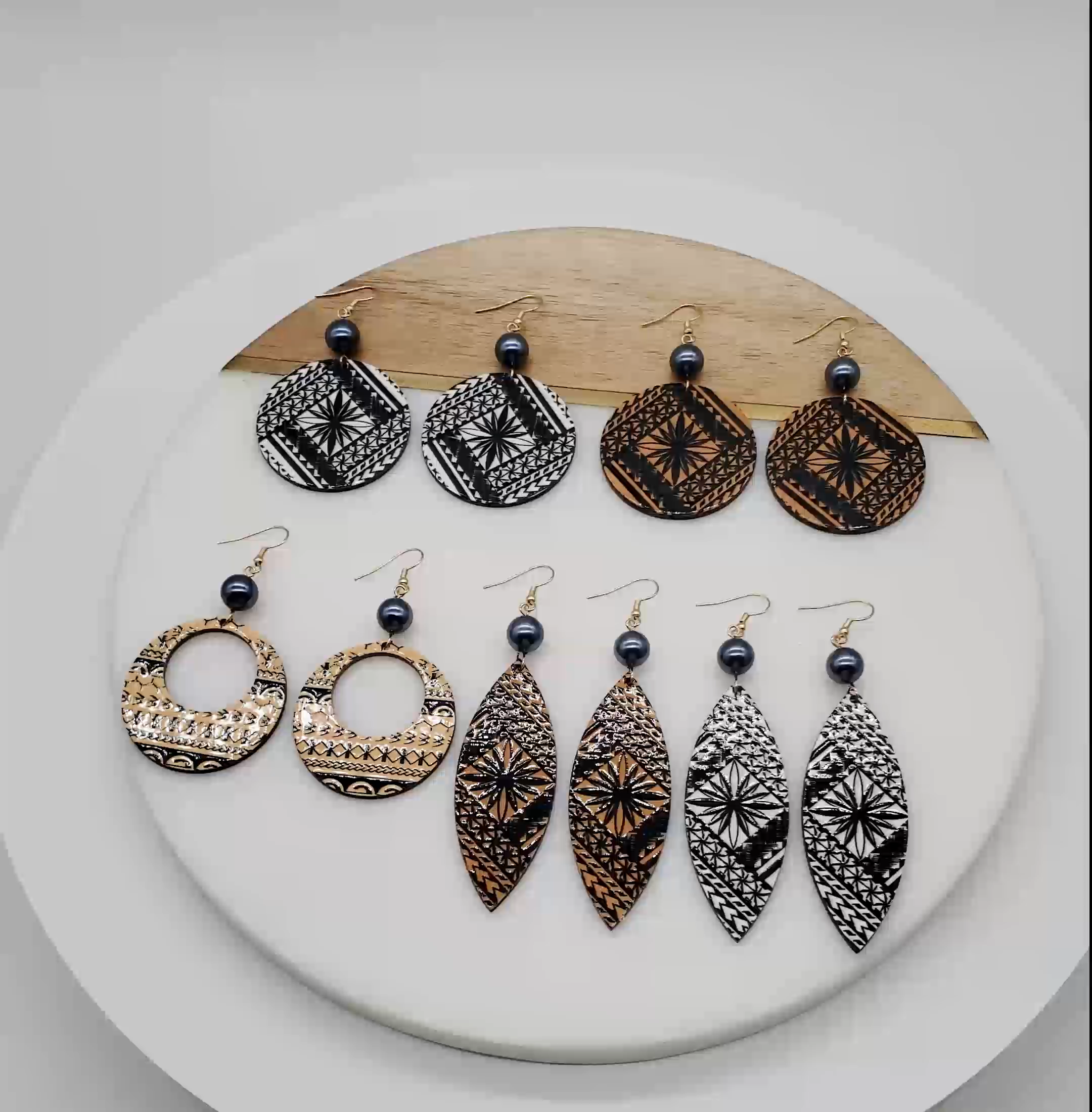 Acrylic black pearl hawaiian pattern geometric drop earrings for women 2019 wholesale