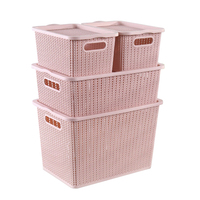Hot selling four sets plastic cloth storage basket with lid and dividers