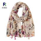 Wholesale Printed Floral Cotton Hijab Scarf Women Stoles 2019 Fashionable Spring Scarf
