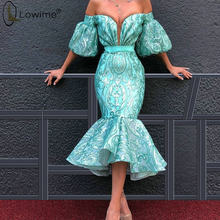 Светильник, синий чай, длина, короткие платья для выпускного вечера русалки, пышные рукава, мусульманское платье, праздничное платье, платья...(Китай)
