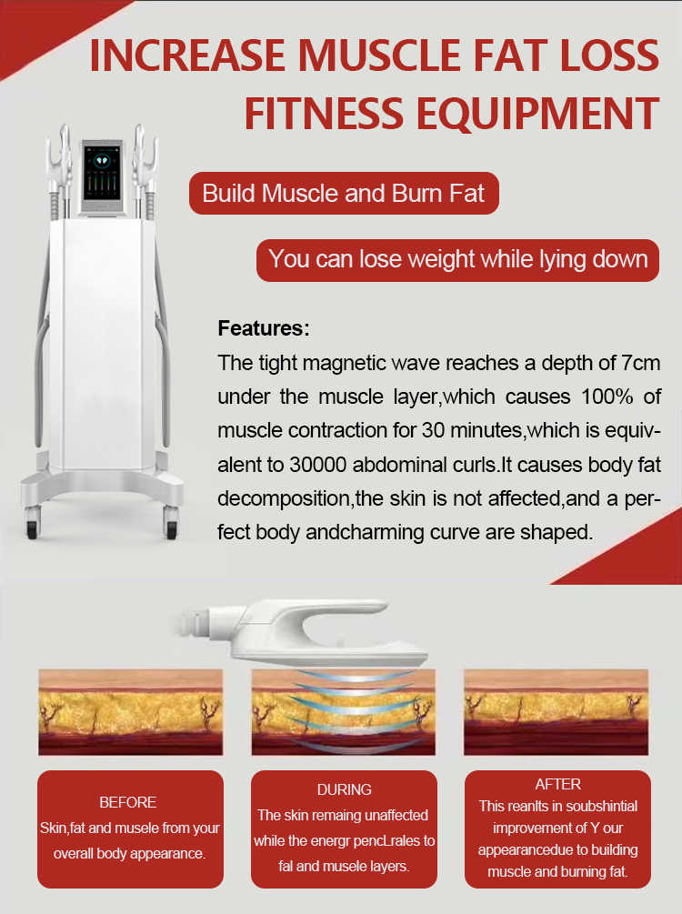 4 Handles Electromagnetic Trainer EMS Portable Build Muscle Burn Fat Slimming Machine HIEMT Physical Therapy Equipments