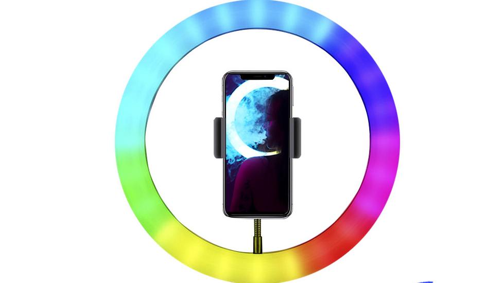 "10"" Aro LED RGB Luminria Para Selfie Ring Light Video Light Ring RGB"