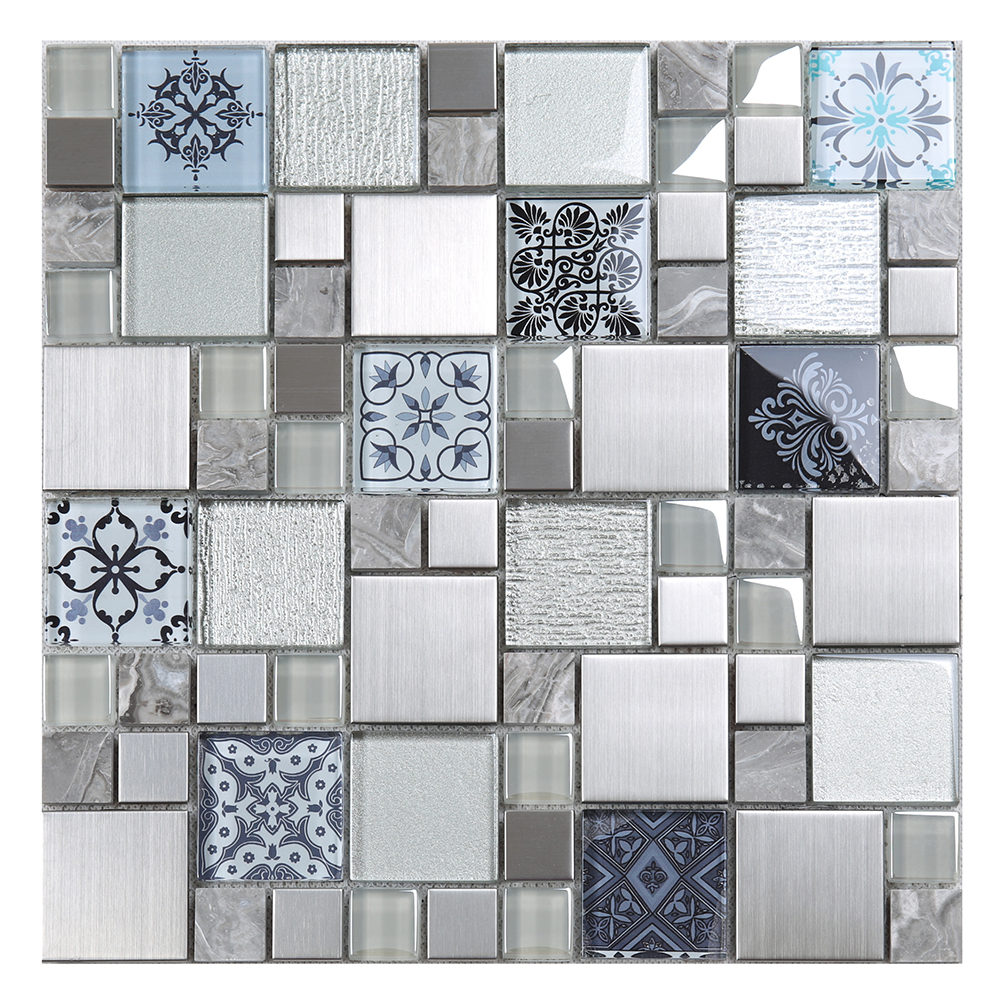 - New Square 3d Printing Tile Glass Mix Metal Marble Mosaic Tiles