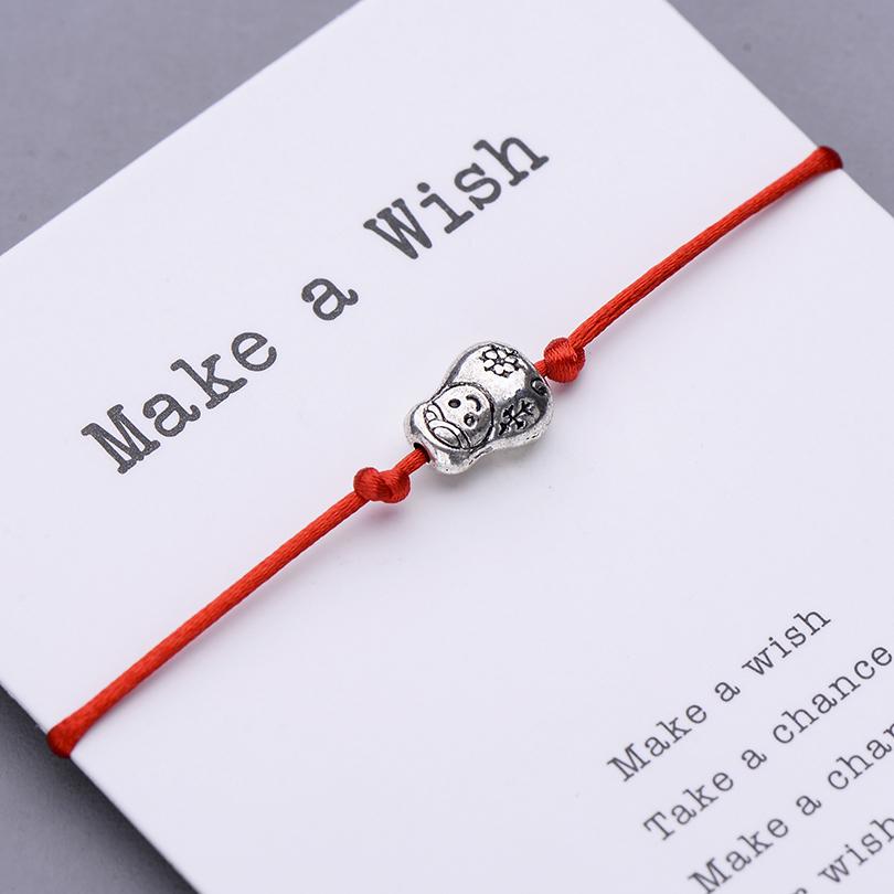 Mignon Poupée Russe Charme Bracelet Faire un Vœu Carte Cadeau pour Femmes Enfants Chanceux Bracelets String Rouge Bijoux Réglable