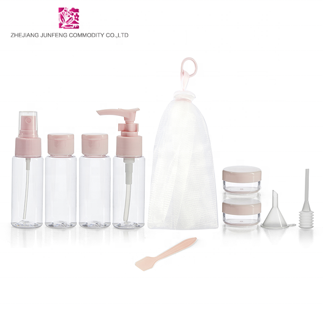 Wholesale cosmetic set package with lotion bottle and jar plastic travel bottle set
