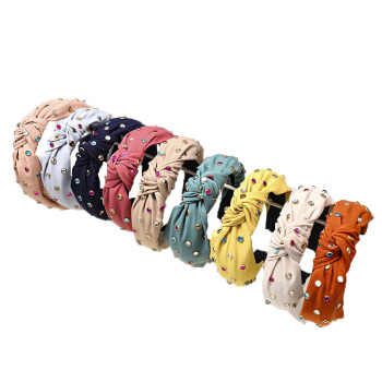 Korean  pure color cloth knotted hair hoop fashion handmade drill band