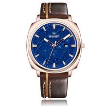 SWISH повседневные мужские наручные часы люксовый бренд кожаные спортивные кварцевые часы светящиеся военные часы водонепроницаемые Relojes ...(Китай)
