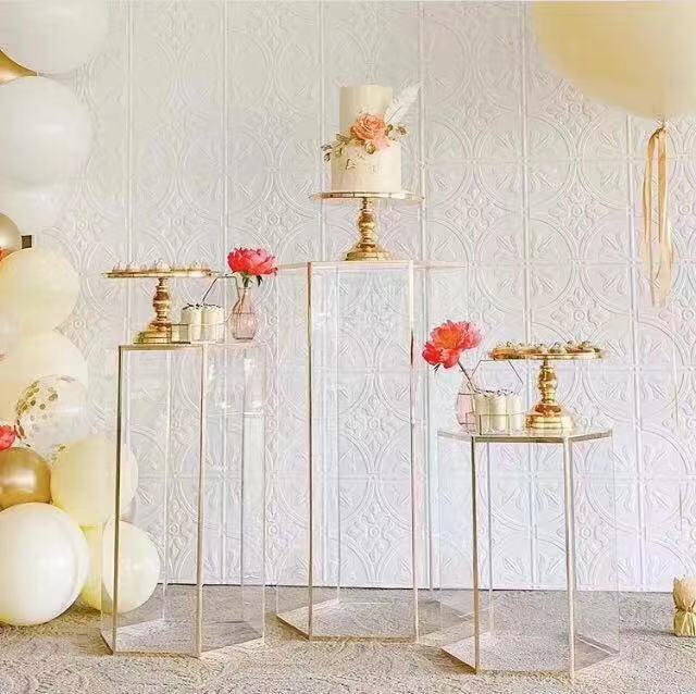 Events weddings decoration dessert cake stand hexagon clear plinths display <strong>acrylic</strong>