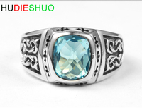 wholesale prices 925 sterling silver retro cross pattern topaz ring men's index finger custom ring
