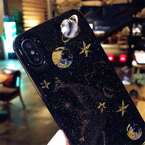 Fashion Shining Glitter Space Planet Phone Cases For iphone 11 X XR XS Max 6 6S 7 8 Plus Soft Silicon Star Back Cover