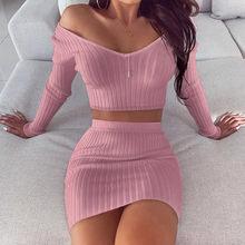 Женский трикотажный комплект с открытыми плечами, укороченный топ, мини-юбка, комплект из 2 предметов, Женский комплект, весна-лето 2020, сексу...(Китай)