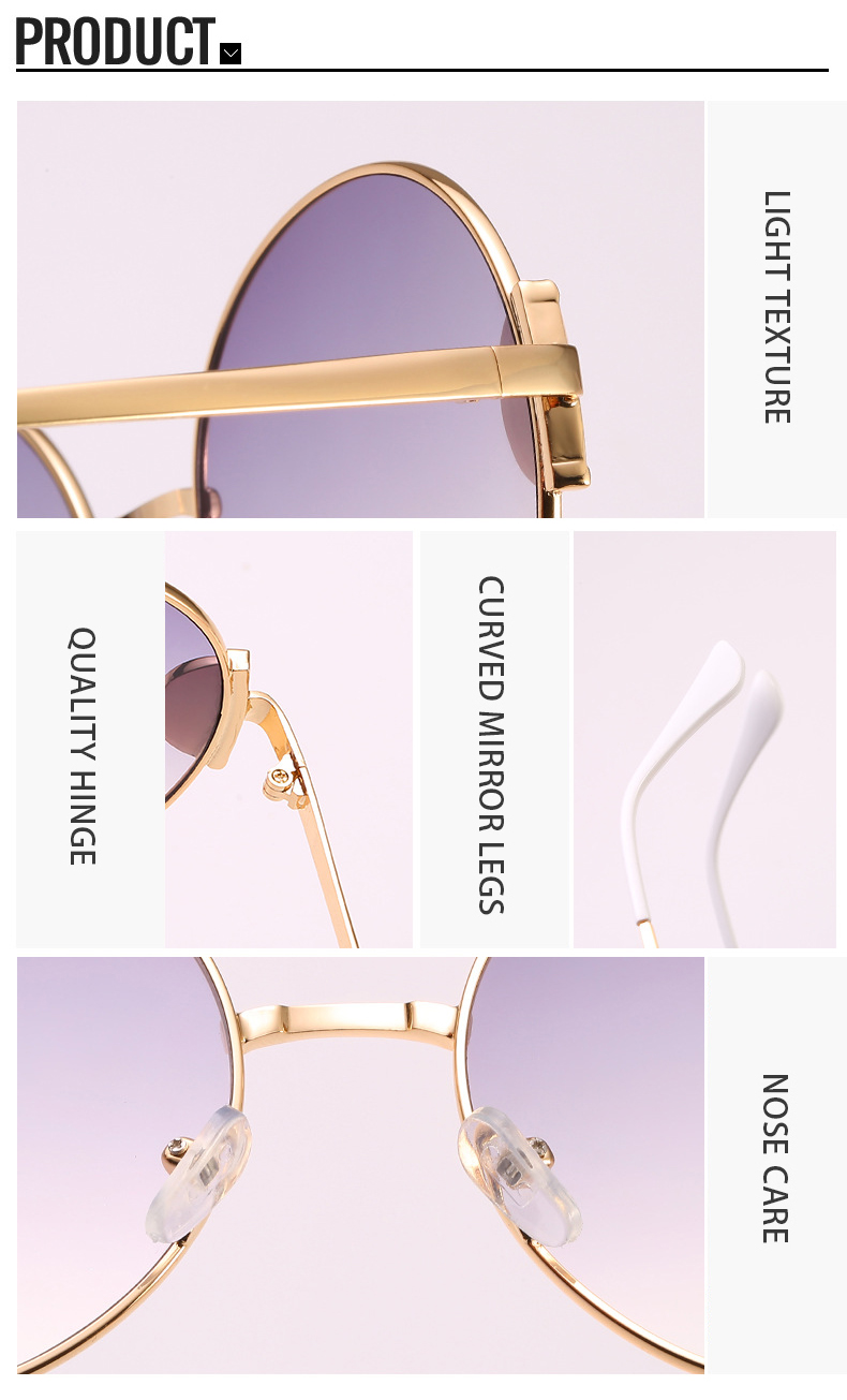 2019 Colorful Ocean Lens PC Round Frame Women Shades Ladies Sunglasses