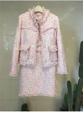 Женский твидовый костюм, элегантный подиумный пиджак, пиджак, топ, платье-карандаш, комплект из двух предметов(Китай)