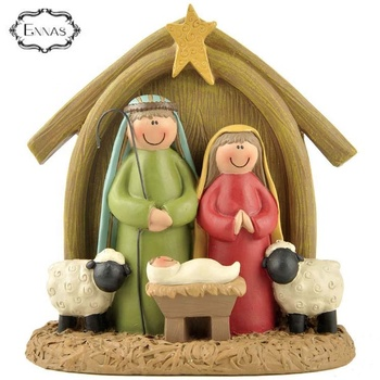Customize Wholesale Polyresin Christian Jesus Birth Family Statue in Manger Nativity Set