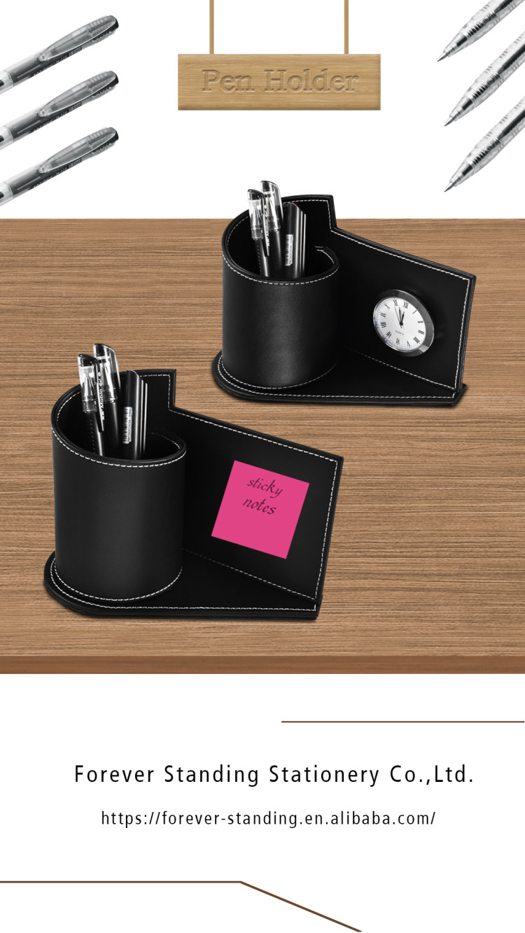 buy personalized best elegant executive custom luxury leather desk pen holder with clock