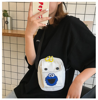 free  shipping casual new personality canvas shoulder fashion cartoon cloth bag