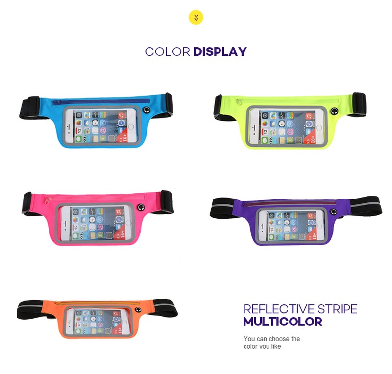 Promising iphone waist belt lycra sport waistband touch screen  running belts bag