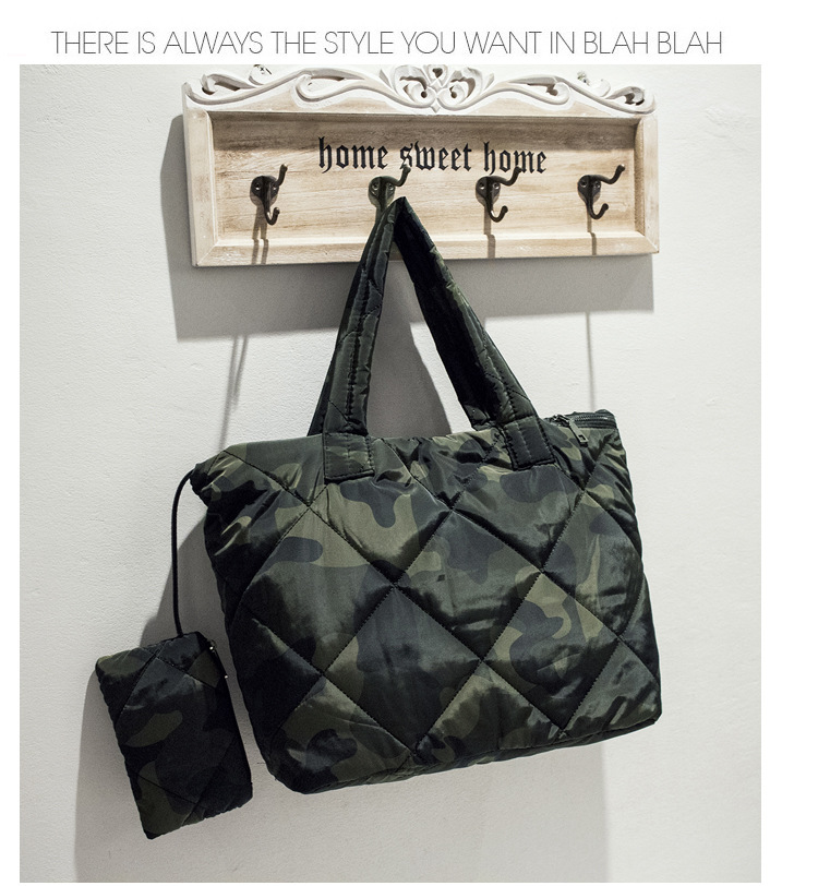 Puffer Bag For Woman Camouflage Light Weight Hand Bag Fashion Winter Ladies Tote Bag 3 Pieces
