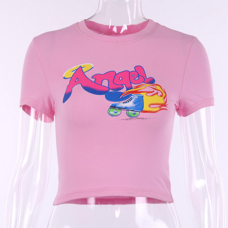 0759C seksi melek mektubu baskı O boyun kısa kollu T Shirt 2020 yaz kadın rahat ince moda T Shirt kadın Streetwear tee