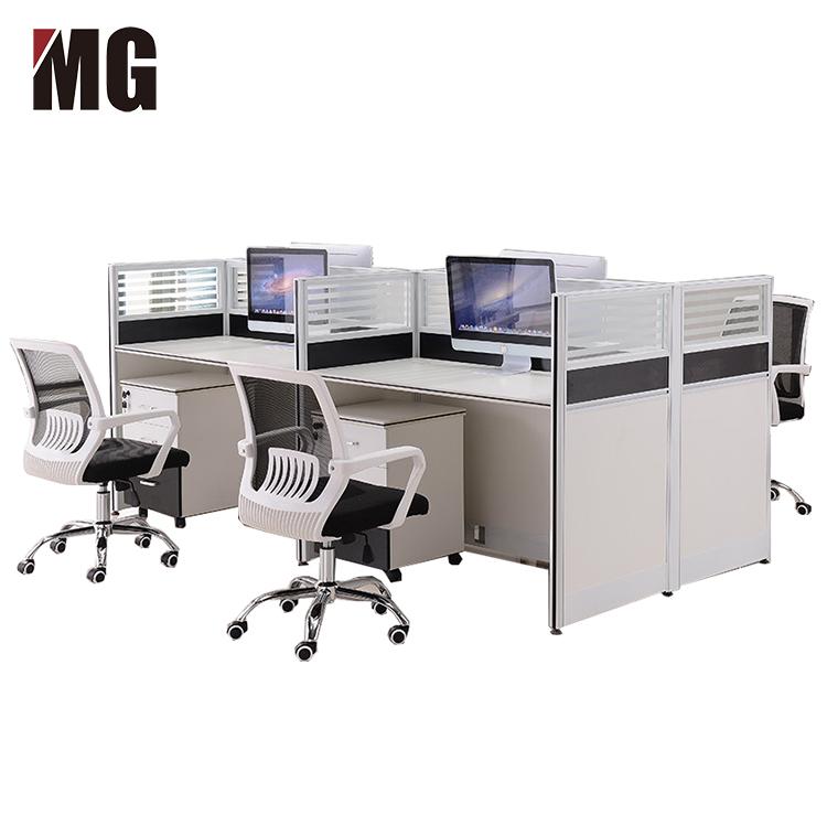 Cuatro personas, la computadora de escritorio de 4 plazas estación de trabajo de oficina pared alta cubículos