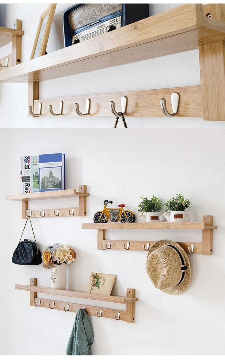 5 Metal Hooks Wall-Mounted Hook Bamboo Coat Rack For Bedroom Bathroom Foyer Hallway 9