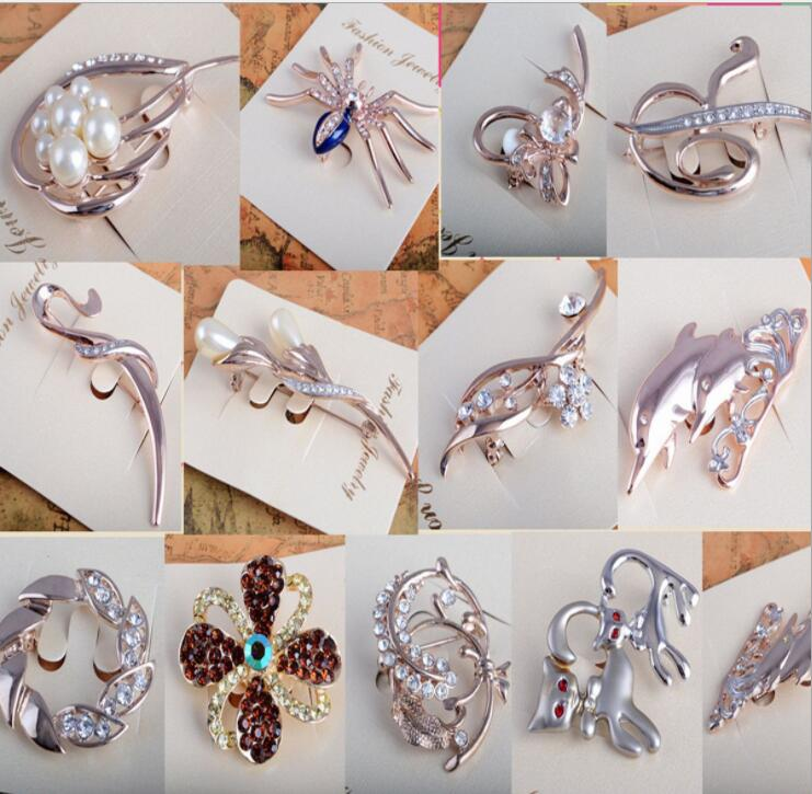 BR8018 Huilin Jewelry fashion mix design diamond brooches cat's eye swan brooches elegant crystal brooch clothes accessories