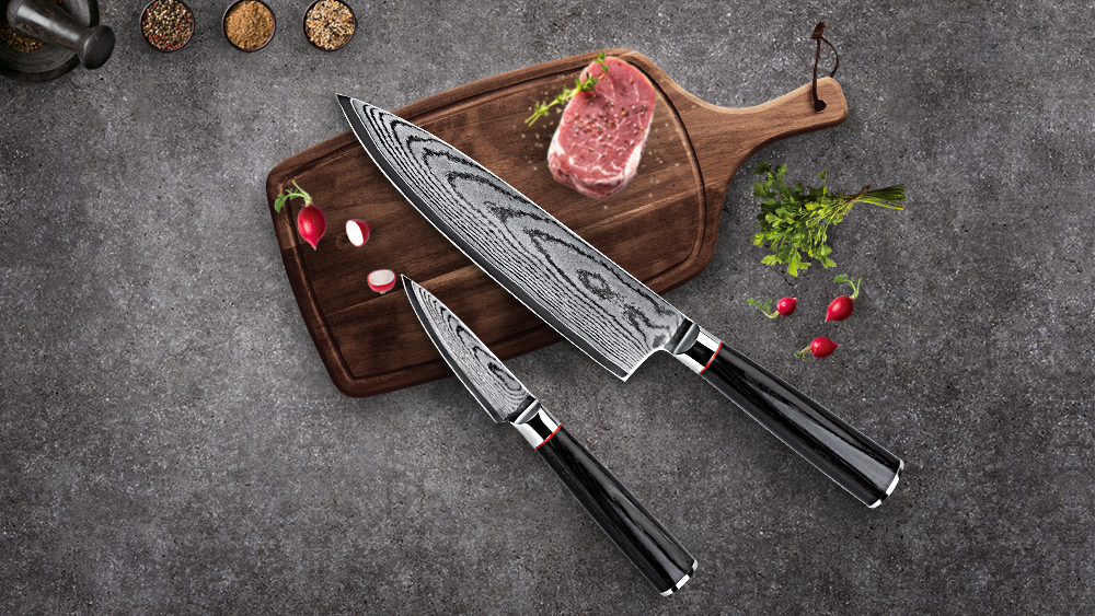 Best-Kitchen-Knives Germany Steel Knife Set VG10 Steel Damascus Knife