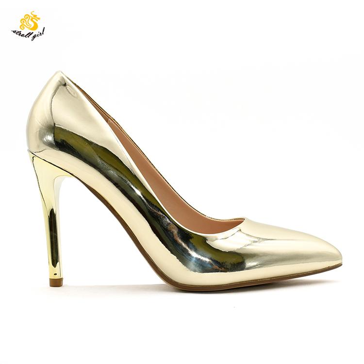 Dg1909001 De Plata Funky Metálico De Punta Estrecha Del Estilete De Los Tacones Altos De Marca Zapatos De Las Señoras De Las Mujeres Buy Zapatos De