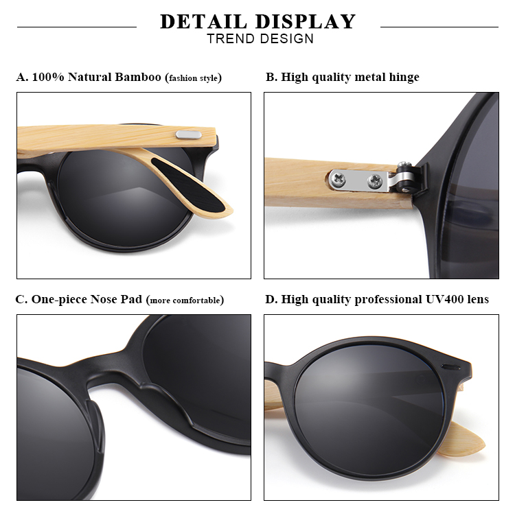 Wholesale Promotion Custom Private Label Sunglasses Bamboo with Sun Glasses Case